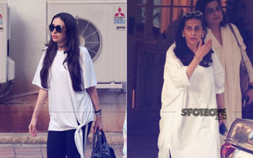 Karisma Kapoor And Sunita Kapoor Offer Condolences At Krishna Raj Kapoor's Chembur Bungalow