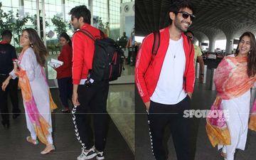 Kartik Aaryan-Sara Ali Khan Snapped In A Fun Mood At The Airport- SEE PICS