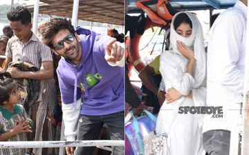 Dostana 2: Kartik Aaryan- Janhvi Kapoor Take A Boat Ride; Lady Hides Her Face, He Poses Happily With Fans
