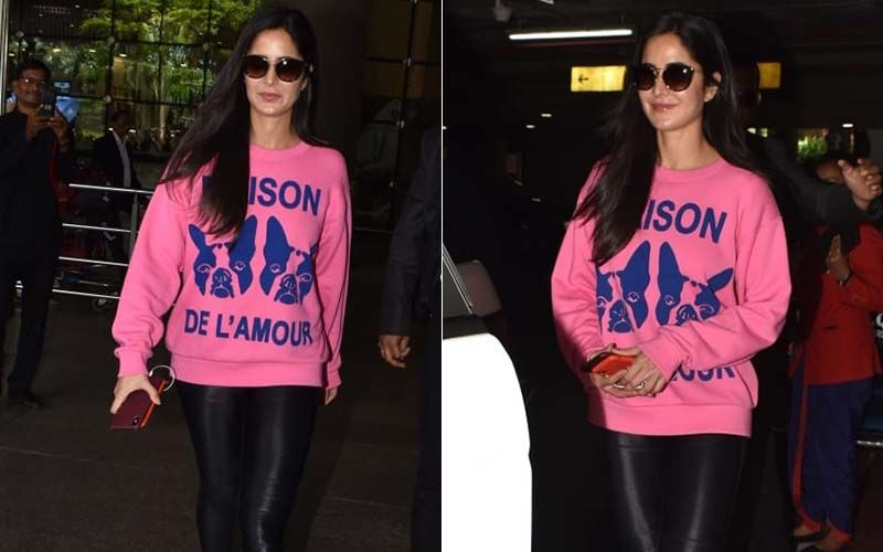 Katrina Kaif Returns From A Wedding; Slays It At The Airport In A Pink Sweatshirt