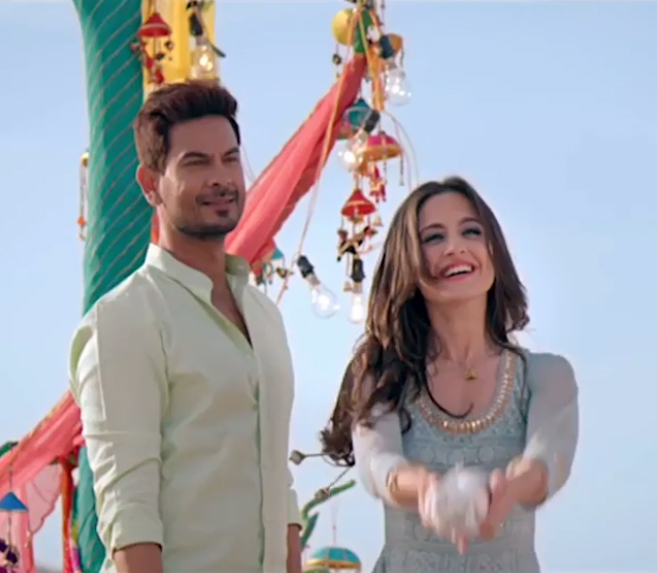 keith sequeira and sanjeeda sheikh enacting a scene in their new show