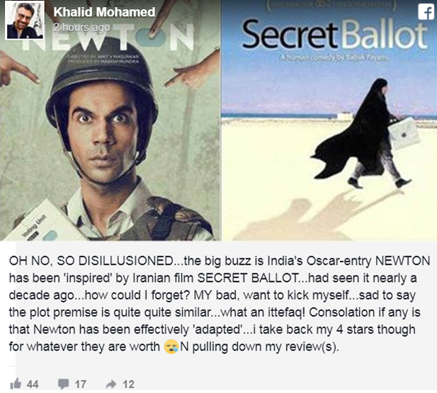 khalid mohamed facebook post on the similarities between secret ballot and newton
