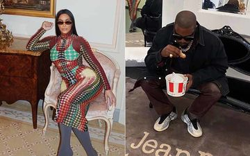 Kanye West Chomping Down On A KFC Burger As Kim Kardashian Tries On The Tightest Maxi Known To Mankind – Photos