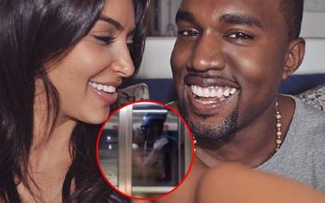 Kim Kardashian-Kanye West Share Steamy Makeout Sesh In An Elevator, A Grinning Kanye Leaves Kim To Pick The Bags-WATCH