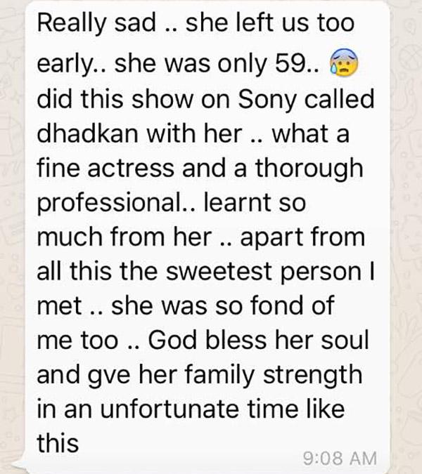 reema lagoo dhadkan co-star kishwer merchant expresses her shock on reema's death