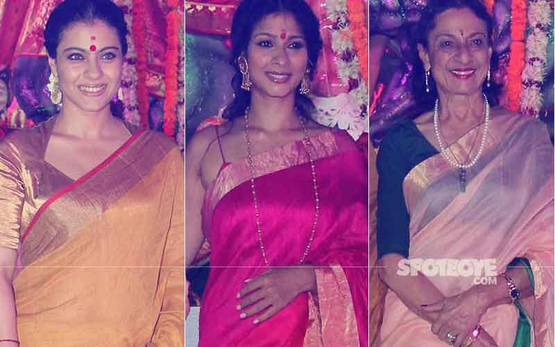 Kajol, Tanishaa Mukerji & Tanuja Get Snapped During Durga Puja Celebrations