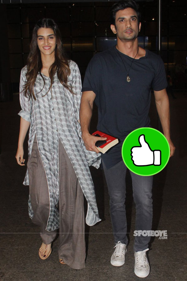 kriti sanon and sushant singh rajput keep it casual and light at the airport