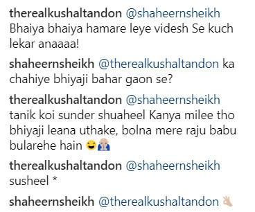 kushal tandon and shaheer sheikh instagram conversation