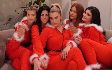 Kylie Jenner, Sofia Richie And Her Girl Gang Make For Sexy Santas In Their Similar Red Onesies