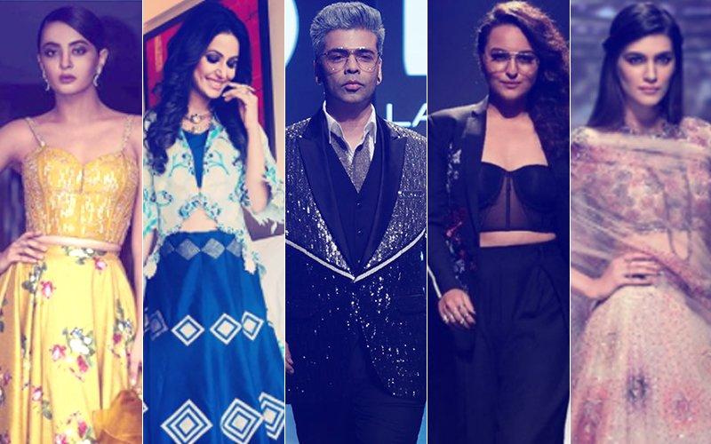 LFW 2018: Karan Johar DARES To Go GREY; Surveen Chawla, Hina Khan, Sonakshi Sinha & Kriti Sanon Redefine SEXY!