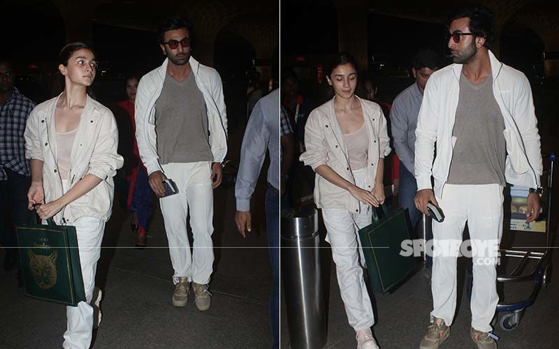 Lovebirds Alia Bhatt-Ranbir Kapoor Twin In White As They Leave For Brahmastra Shoot
