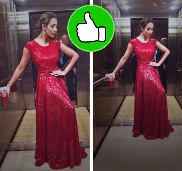 malaika arora in a red shimmery gown