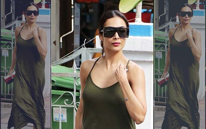 A Salad A Day: Malaika Arora Struts Out Of A Salad Bar Looking Delicious In An Olive Green Maxi