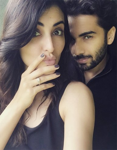 mandana karimi flaunting her engagement ring with fiance gaurav gupta
