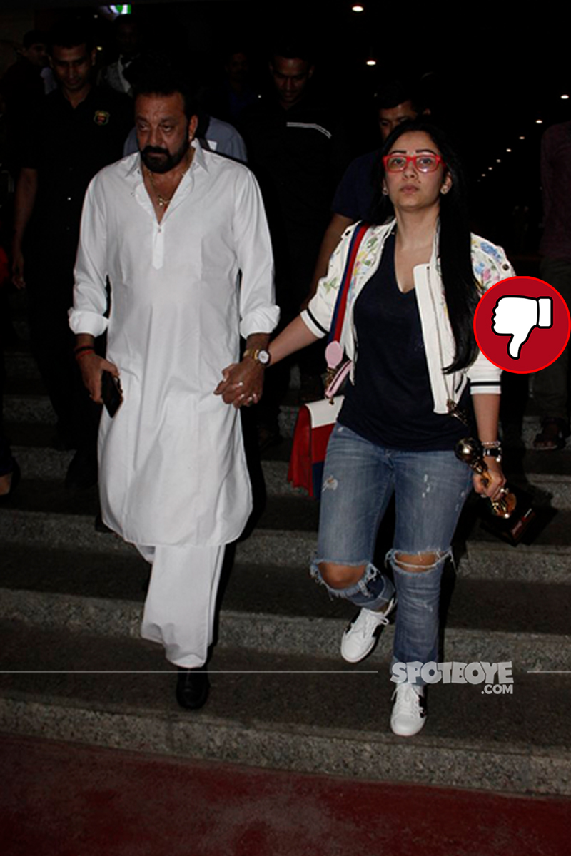 manyata at the airport with sanjay dutt