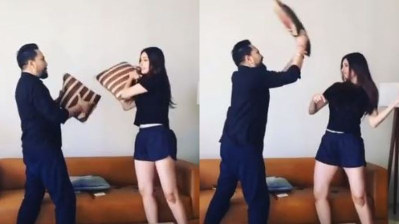 Mika Singh And Chahatt Khanna Reunite, Indulge In A Romantic Pillow Fight At Singer's House Amid Quarantine  - Video