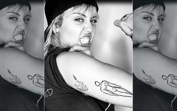 Miley Cyrus Gets A Nude Woman Tattoo On Her Arm; Flexes Her Bicep To Show Off Her New Ink- WATCH
