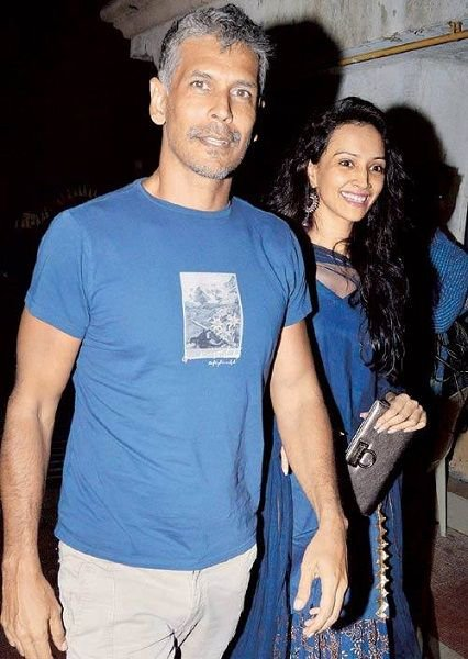 milind soman with dipannita sharma