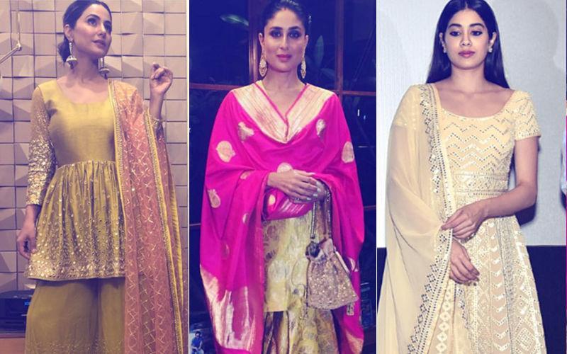 Navratri 2018 Day 2 Colour, Yellow: हिना खान, करीना कपूर,जान्हवी कपूर के पीले ऑउटफिट हैं गरबा नाईट के लिए एकदम परफेक्ट