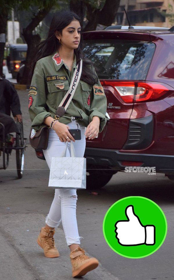 navya naveli nanda snapped post salon session in juhu