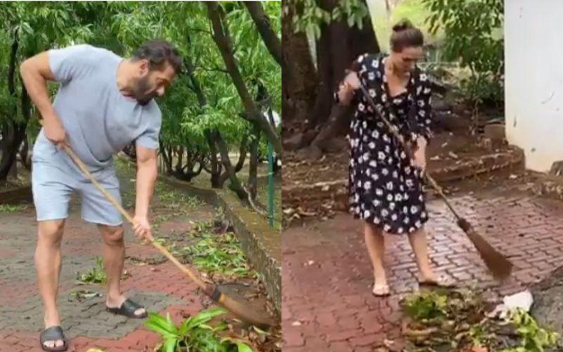 Salman Khan- Iulia Vantur Sweep The Lawn Of His Panvel Farmhouse; Actor Bats For Swachh Bharat On World Environment Day - VIDEO