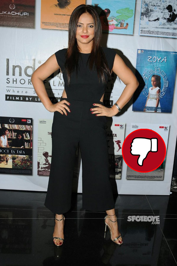 neetu chandra in a junpsuit at india alive short film festival launch
