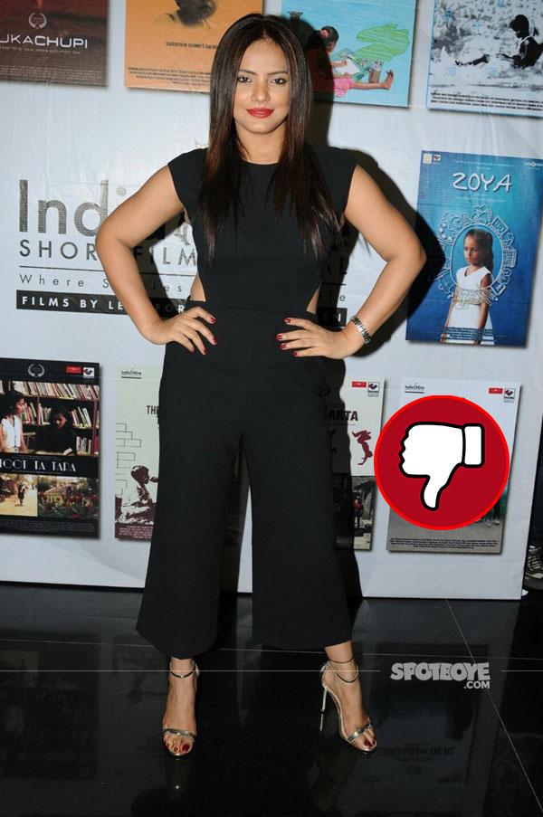 neetu chandra in a junpsuit at india alive short film festival launch