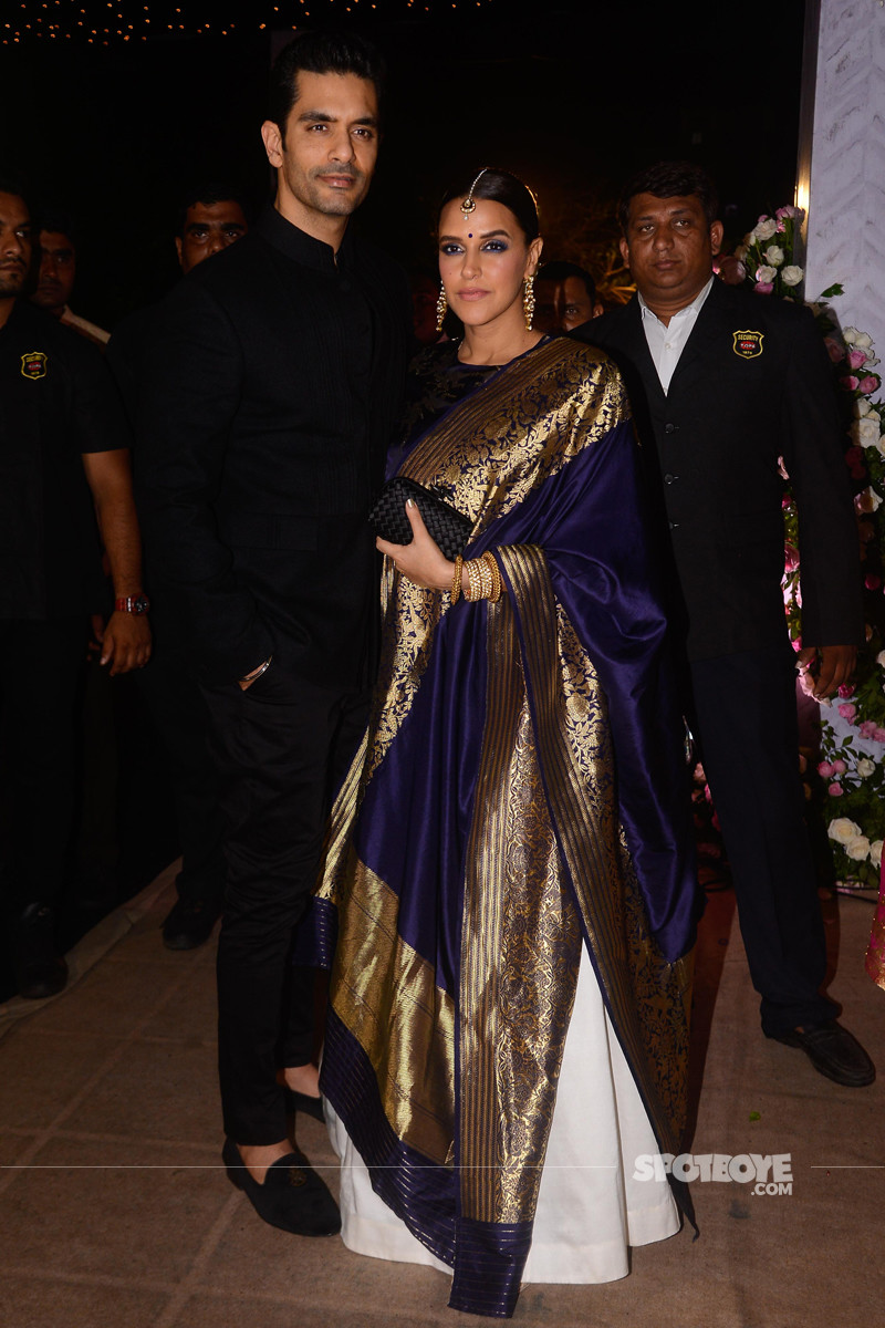 neha dhupia and angad bedi at poorna patel reception