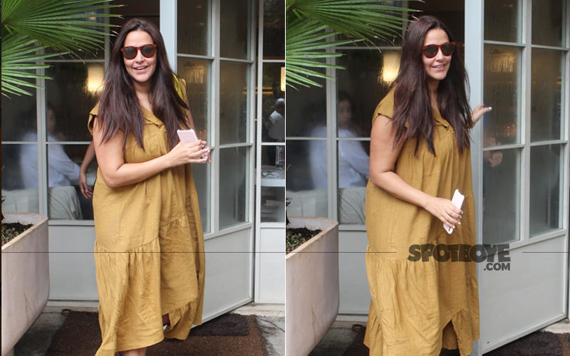 Neha Dhupia Is All Smiles For The Photogs, Clicked Sans Hubby Angad Bedi