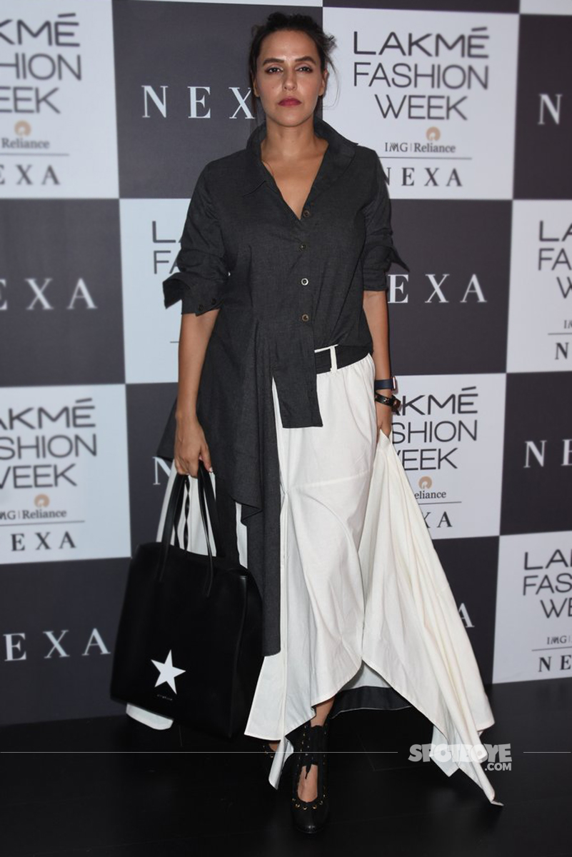 neha dhupia snapped after the fashion show finshed