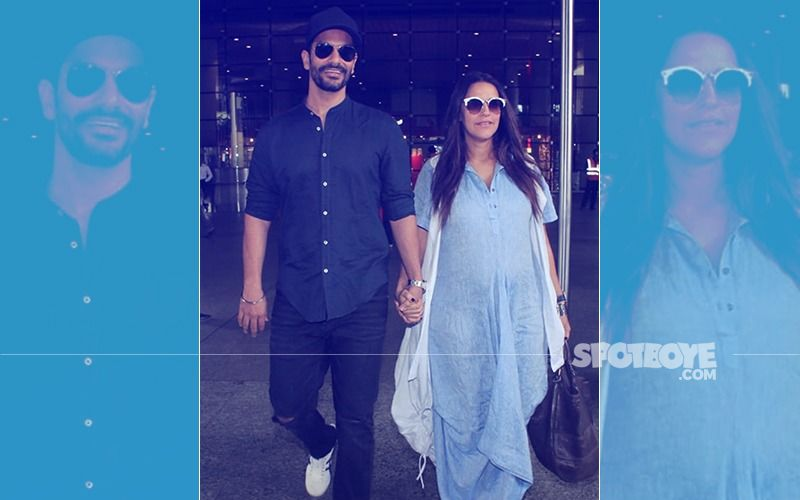 Pregnant Neha Dhupia Returns To Mumbai With Hubby Angad Bedi; Due Date In November