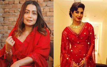 Neha Kakkar's Reception Lehenga Looks Inspired By Priyanka Chopra; Red Lehenga And See Through Veil Will Remind You Of Chopra's Lavish Wedding
