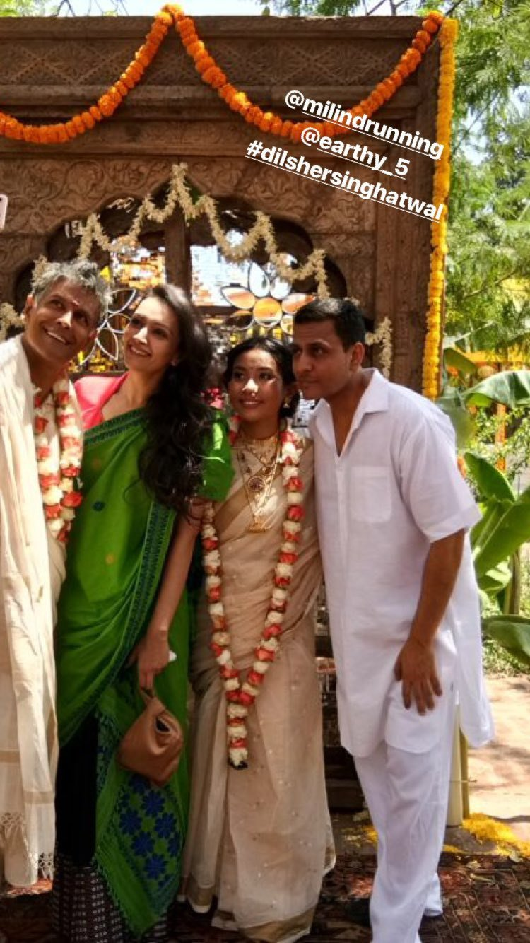 newly weds milind soman ankita konwar and dipannita sharma with her husband
