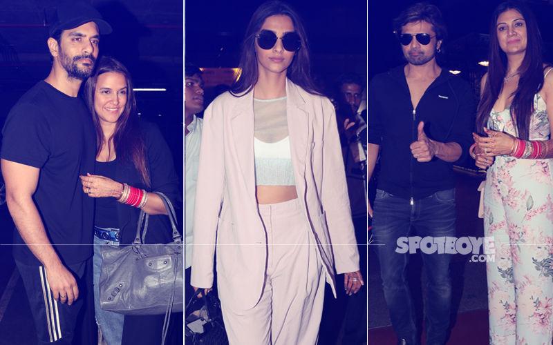 Newlyweds Return To City: Sonam Kapoor, Neha Dhupia–Angad Bedi & Himesh Reshammiya-Sonia Kapoor At Airport