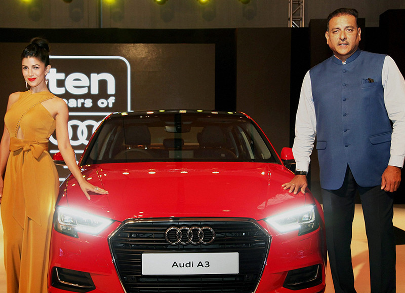 nimrat kaur and ravi shastri snapped at an audi event