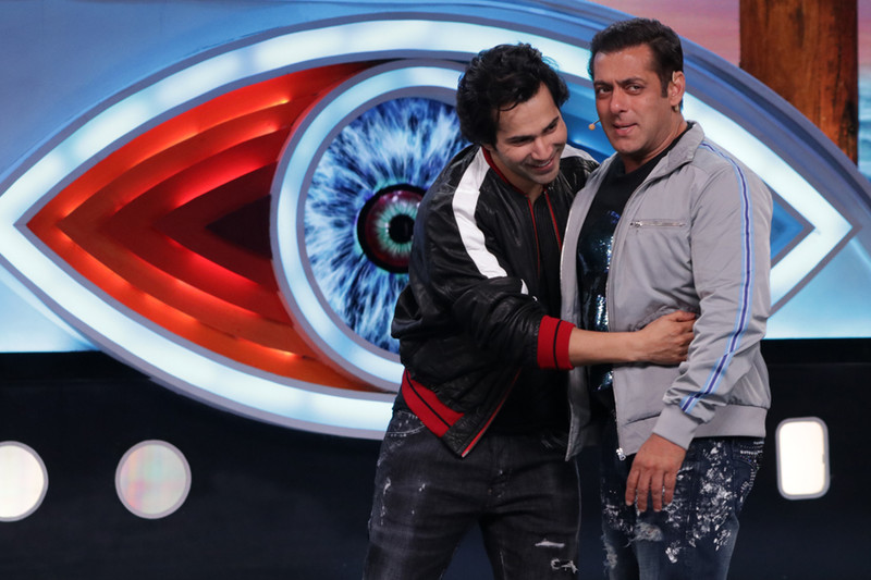 on the sets of bigg boss 12 salman khan and varun dhawan share a candid moment
