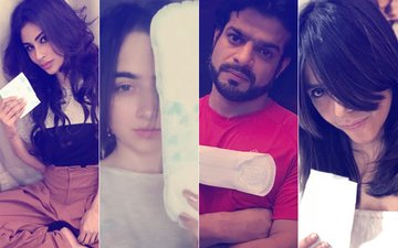 PAD MAN(IA) HITS TV: Mouni Roy, Sanjeeda Sheikh, Ekta Kapoor, Karan Patel Take The Pad Man Challenge