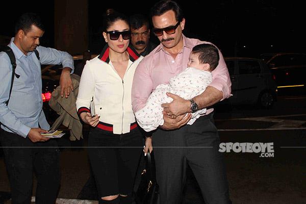 pataudi family saif ali khan and kareena kapoor pose with taimur  ali at the airport