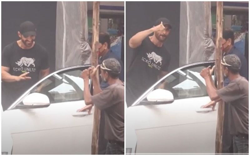 John Abraham Patiently Chats With A Man Before Stepping Into His Car; Leaves The Fan Smiling And Flashing A Thumbs-Up- Watch VIDEO