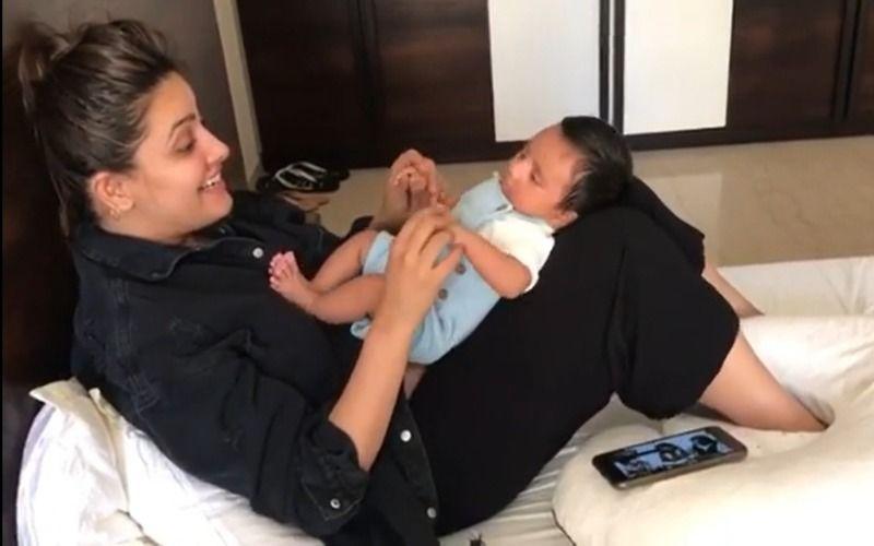 Anita Hassanandani Enjoys Bonding Time With Newborn Son Aaravv; Sings 'Lakdi Ki Kaathi' And Plays Along With Her Baby Boy- WATCH