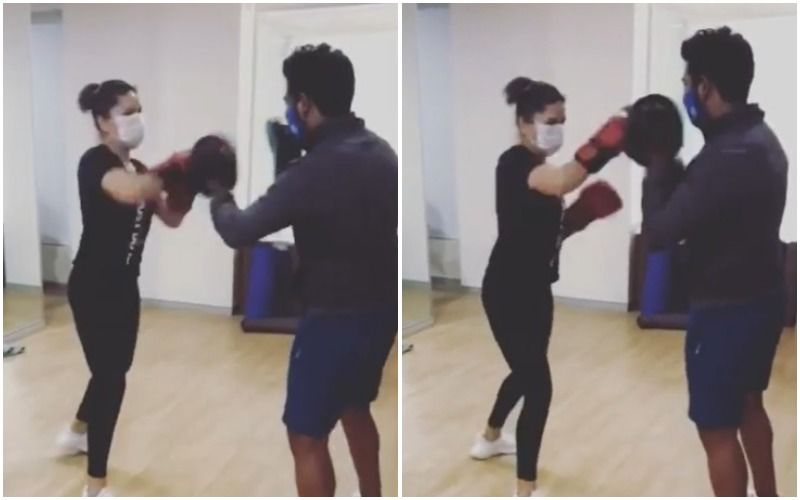 Sunny Leone Brushes Up Her Boxing Skills But Keeps Her Facemask On; Says 'Safety Over Comfort'- WATCH VIDEO