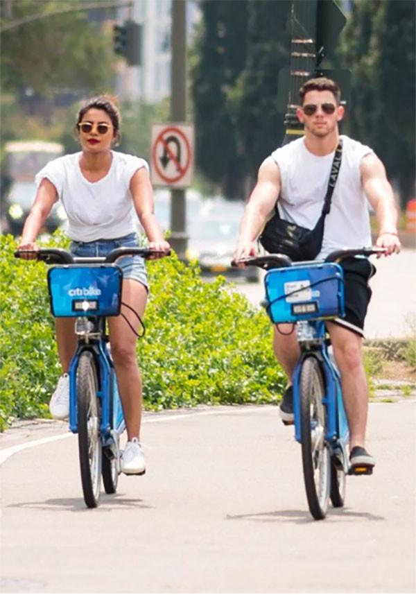 Priyanka And Nick Cycling