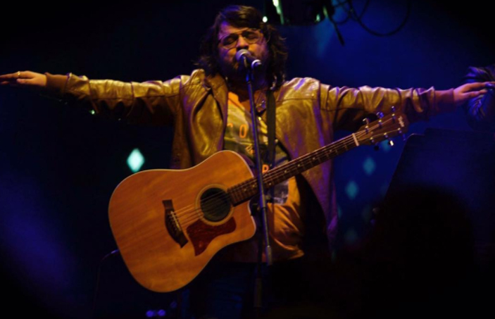 pritam performs on stage