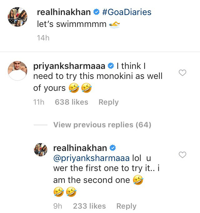 priyank sharma and hina khan conversation