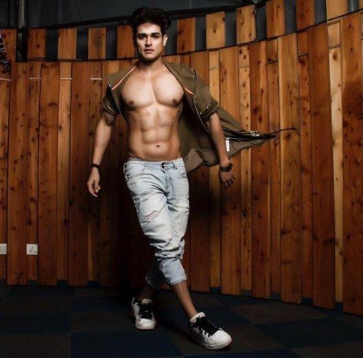 priyank sharma shows off his bare body