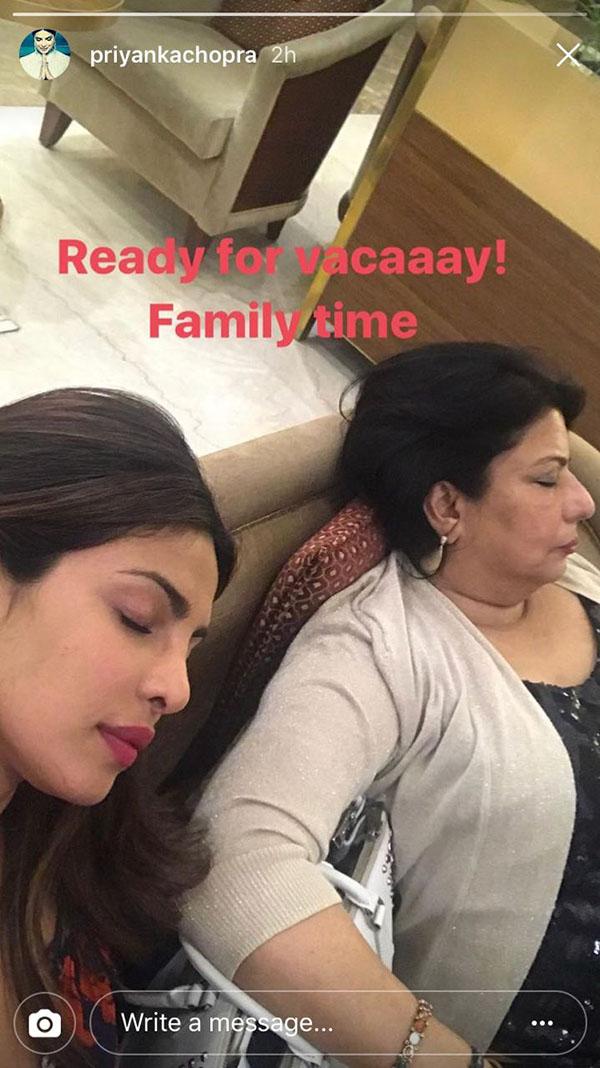priyanka chopra and madhu chopra enroute their vacation for priyanka's birthday