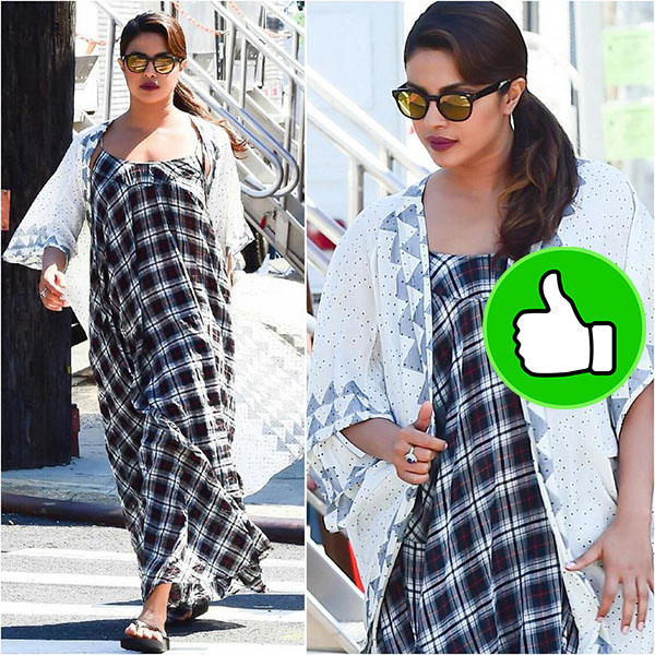 priyanka chopra snapped in checked maxi dress on the sets of her movie