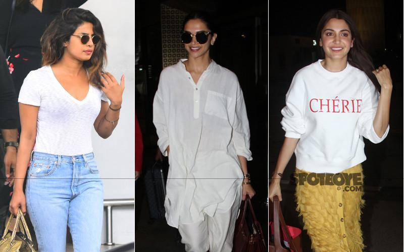 priyanka chopra deepika padukone and anushka sharma snapped at the airport