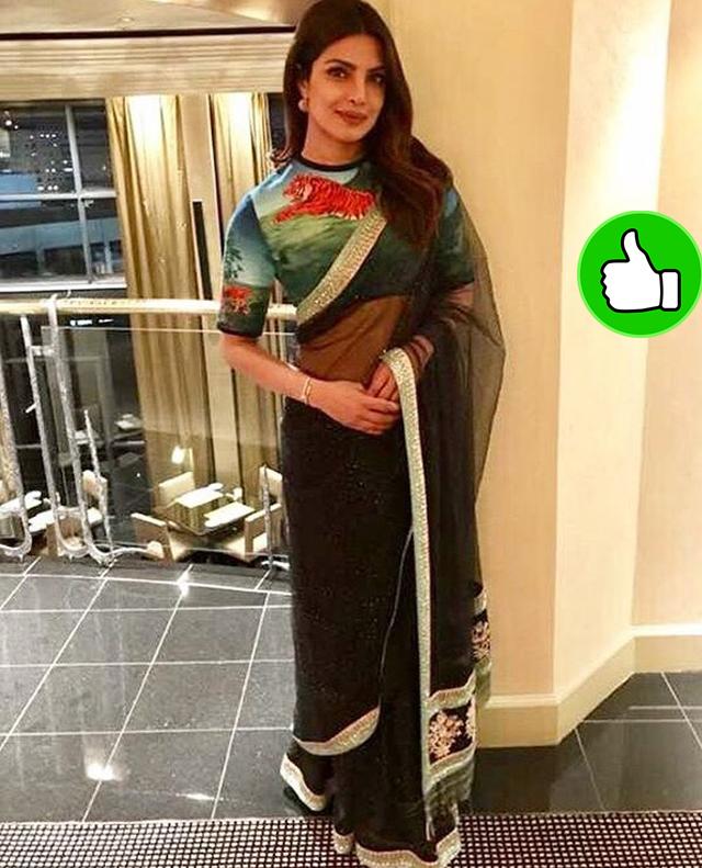priyanka chopra in a sexy black saree