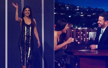 Baywatch Actress Priyanka Chopra Sizzles In Black & Gold At Jimmy Kimmel Live